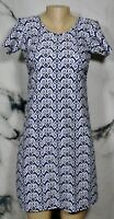 SPUNK WEAR Blue White Gold Patterned Dress XS Short Sleeve Athleisure Unlined