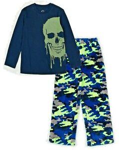 NWT Boy's Pajama Size XL (14-16) Skull Camo Long Sleeve 2 Pc Set Glow in Dark PJ