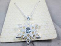 Argento e blu collana ciondolo fiocco di neve congelata, marcia Xmas