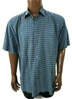 Tori Richard Men's Hawaiian Camp Shirt Size Medium Geometric Cotton Lawn Brown