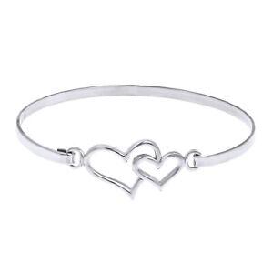 Double Heart One Love 14K White Gold Over Sterling Silver Bangle Bracelet