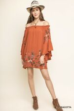 Umgee Dress Terracotta Rust Off Shoulder Floral Embroidered Bell Sleeves NWT