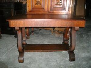 Early American scroll leg oak desk