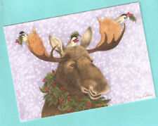 holly moose birds christmas cards box of 10 last one