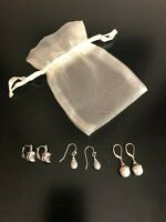 Lot of 3 Pairs of Fancy  Earrings - Sterling Silver w/Pearl, Rhinestone, Pave