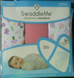 SwaddleMe Swaddle 3 pack Small Medium Summer Infant 3.2-6.4kg 0-3mth 100% Cotton