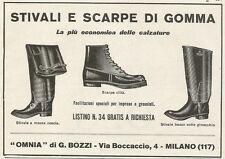 W3753 Stivali e scarpe di gomma OMNIA di G. Bozzi - Pubblicità 1929 - Advertis.