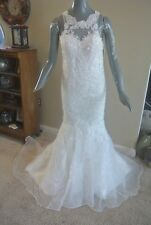 Ivory Organza Lace Mermaid Sleeveless Bridal Gown Wedding Dress Size 0 2 @cLOSeT