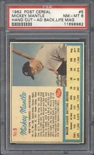 1962 Post Cereal #5 Mickey Mantle Ad Back - Life Magazine PSA 8