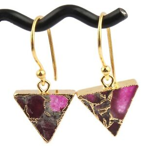 Triangle Shape Mojave Copper Turquoise Yellow Gold Plated Drop Dangle Earrings