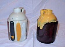 2 Vintage Laurentian Pottery Canada LP Mini Crock Jugs Syrup