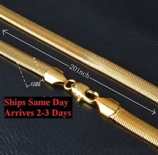 "18k Gold Women's Men's 6mm Herringbone Snake Link 20"" Necklace D160"