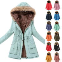 Women's Winter Warm Hooded Coats Windproof Faux Fur Parka Jacket Trench Outwear