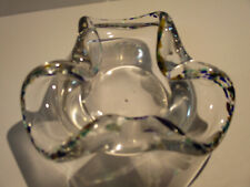 Hand Blown Studio Art Glass Ashtray Trinket Bowl Paperweight Pinched Rim
