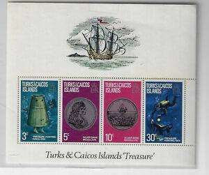 Turks & Caicos #262a souvenir sheet MNH, Diving, coins, ships (PF45)