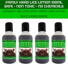 No chemicals - Safe head lice treatment - for adults & children, 4 bottles 100ml