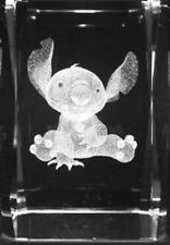 3D STITCH  3 Inch GLASS PAPERWEIGHT Laser Etched Crystal