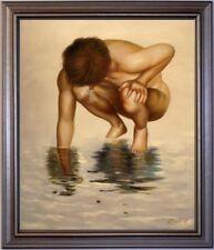 Ölbild männlicher Akt im Wasser, nackter Mann, male nude HANDGEMALT, 50x60cm