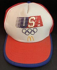 Vintage 1984 McDonald's Team USA Los Angeles Olympics Trucker Hat Cap