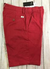 NEW $50 Quiksilver Straight Tapered Chino Khaki Casual Walking Shorts Red Sz 31