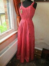 Beautiful 1940s/1950s Handmade Maxi Salmon Pink Hostess Prom Party Dress 6-8 VGC