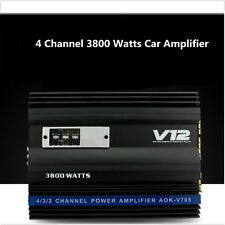 4 CH Channel Powerful Car Amplifier 3800 Watt RMS Audiocar Amp 4Ohm High Power