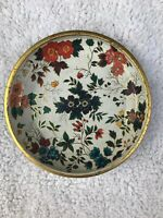 Vintage Daher Decorated Ware Tin Metal Floral Gold Trim Serving Tray Dish Bowl