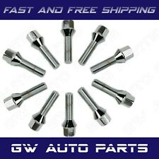 10 PCs BMW Chrome M12x1.5 Lug Bolts 40mm Shank Conical Seat Wheel Lug Bolts