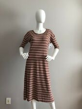 NEW KROCHET KIDS INTL. BROWN WITH STRIPES DRESS SIZE XS MADE IN PERU