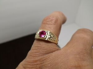 Vintage Art Deco 14k Solid Yellow Gold Synthetic Ruby Solitaire Mens Ring