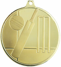 Cricket 3D 50mm frosted Diameter Medal Inc Neck Ribbon / Engraving