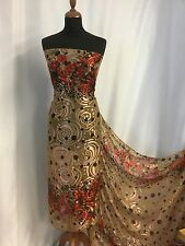 "NEW Designer 100% Silk Satin Chiffon Floral Burnout Fabric 42"" Dress Sari Scarf"