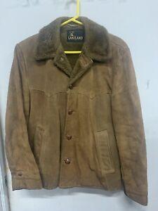 Vintage Lakeland Genuine Leather Jacket Sz. 40 Brown Lined Coat Domed Button 70s