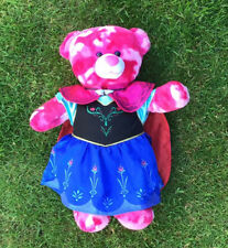 Pre Owned Build A Bear - Pink Camouflage Bear With Anna From Frozen Outfit