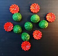 Lot of 12 Vintage 1950s Christmas Mixture Buttons: 6 Green/ 6 Red. Retro Fashion