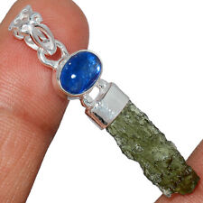 Genuine Czech Moldavite & Kyanite 925 Sterling Silver Pendant Jewelry AP232058