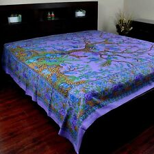 Handmade Cotton Tree of Life Tapestry Throw Tablecloth Spread Purple 88 x 104