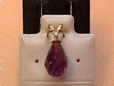 Exclusiver Amethyst & Diamant Anhänger - 14 Kt. Gold - 585 - Briolett Schliff -3