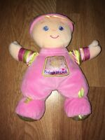 Fisher Price Babys 1st First Doll Rattle Plush Pink Baby Blonde Hair Blue Eyes