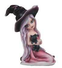 "6"" Pink Witch Girl with Cat Halloween Decor Figure Gothic Figurine"