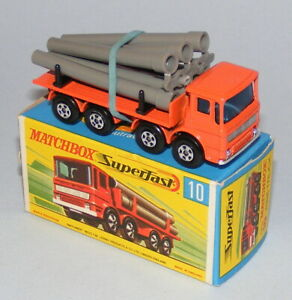 MATCHBOX SUPERFAST #10a LEYLAND PIPE TRUCK WITH GREY PIPES MINT BOXED