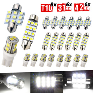 20X Car Interior White Combo LED Map Dome Door Trunk License Plate Light Bulbs