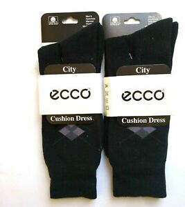 2 pr Ecco Mens Dress Socks Argyle Casual Cotton Blend Maximum Cushion Sox Crew