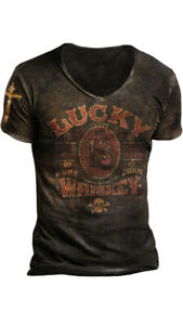 MENS RETRO LUCKY 13 PRINTED T-SHIRT Large