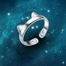 Women Fashion Cat Ear Opening Silver Ring Cute Party Cahrm Jewelry