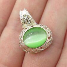 925 Sterling Silver Real Green Tiger Eye Gemstone Pendant