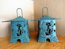 Vtg 2 Partylite Grapevine & Grapes Garden Lanterns Candle Holders Pagoda Style