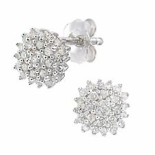 Revoni Real Round Natural Diamond Cluster Earrings Solid 9ct White Gold