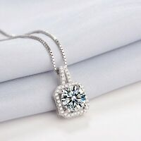 925 Sterling Silver Crystal Square Stone Pendant Chain Necklace Womens Jewellery