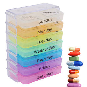 Pill Box Organiser 7 Day Weekly Daily Coloured Storage Tablet Dispenser Medicine